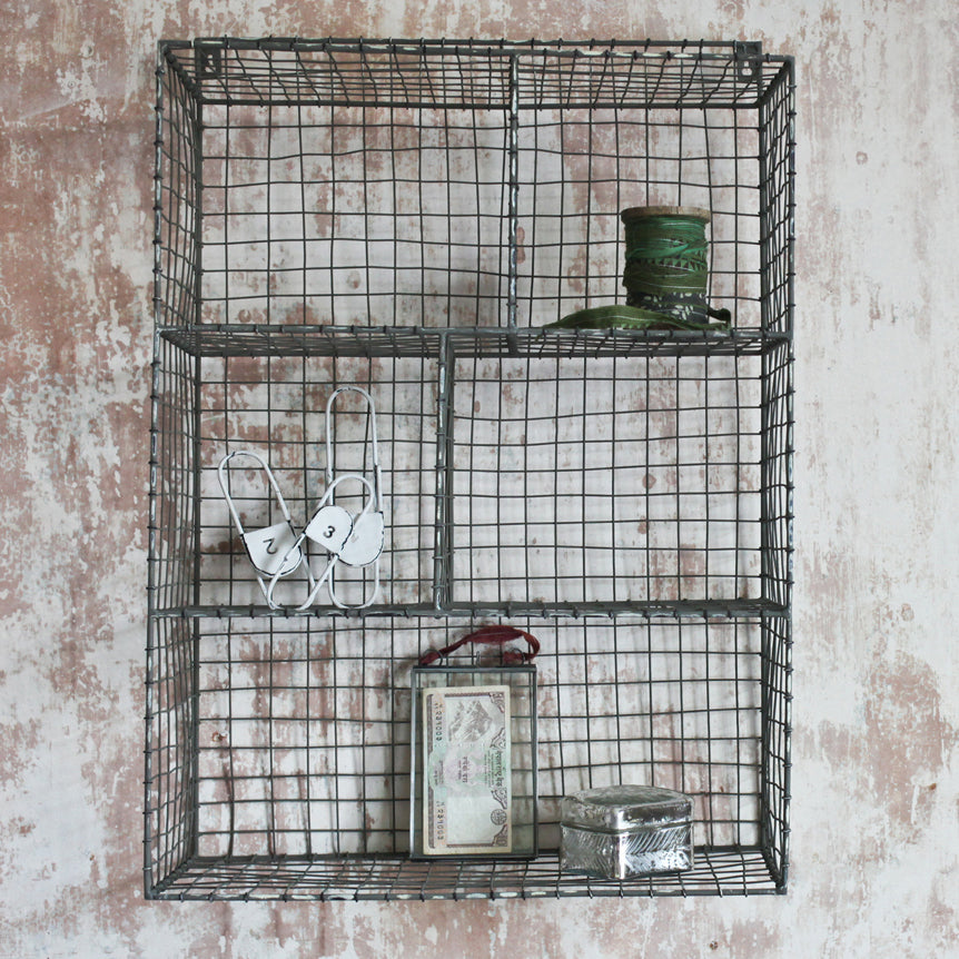 Locker Room Shelf With Sections - Grey-shelf-The Little House Shop