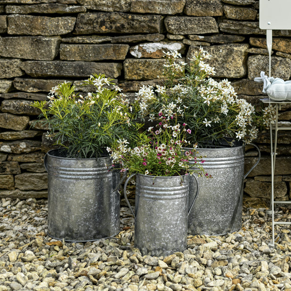 Galvanised Set Of 3 Planters-planter-The Little House Shop