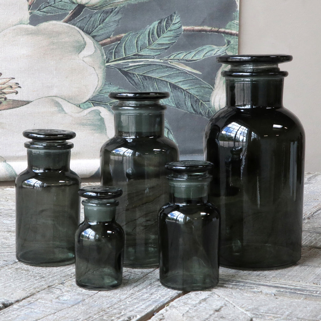 Set Of 5 Smoke Glass Apothecary Jars