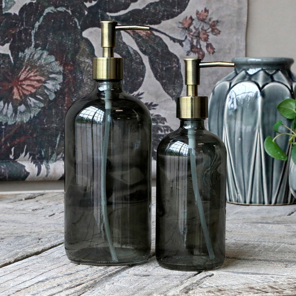 Smoke Glass Bottle Holder With Brass Pump 480ml-soap Dispenser-The Little House Shop