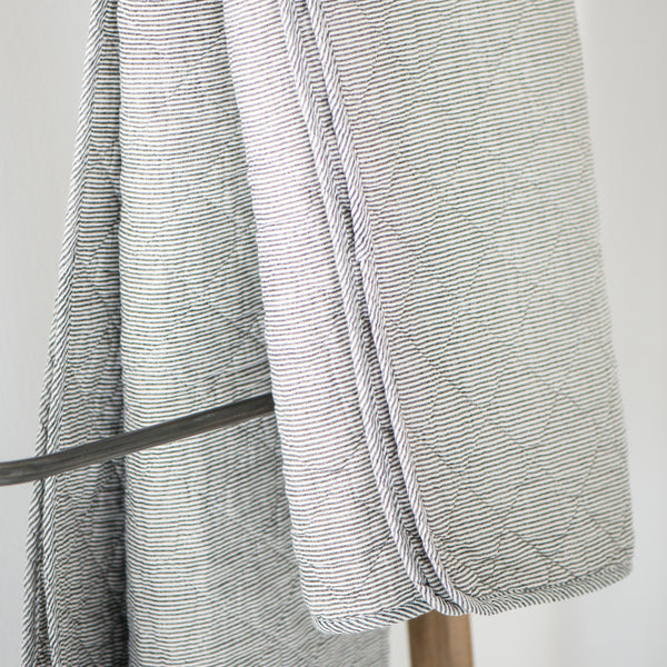 Grey Striped Cotton Quilt