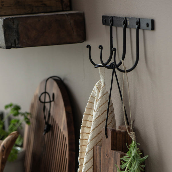 Black Iron Rack With 3 Hooks