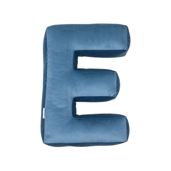 Velvet Letter E Cushion - Handmade To Order BLUE