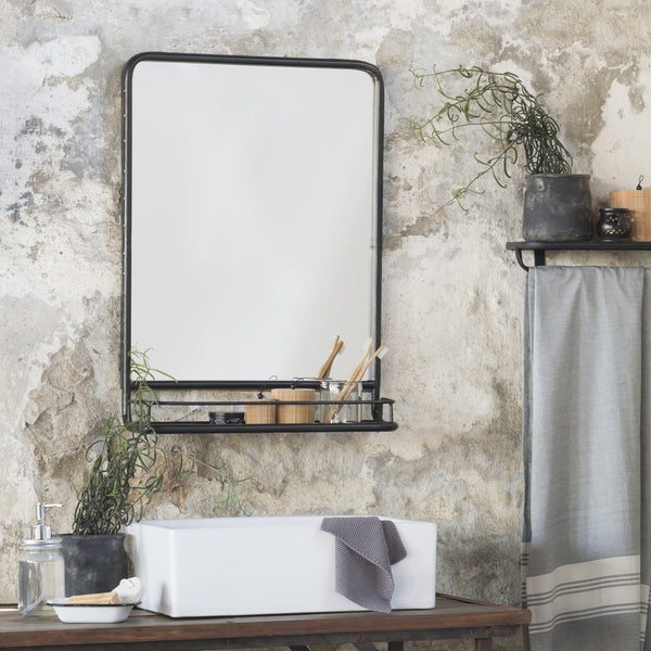 Large Black Distressed Industrial Mirror With Shelf The