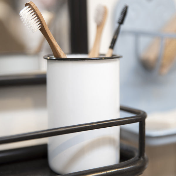 Traditional White Enamel Toothbrush Holder-storage-The Little House Shop