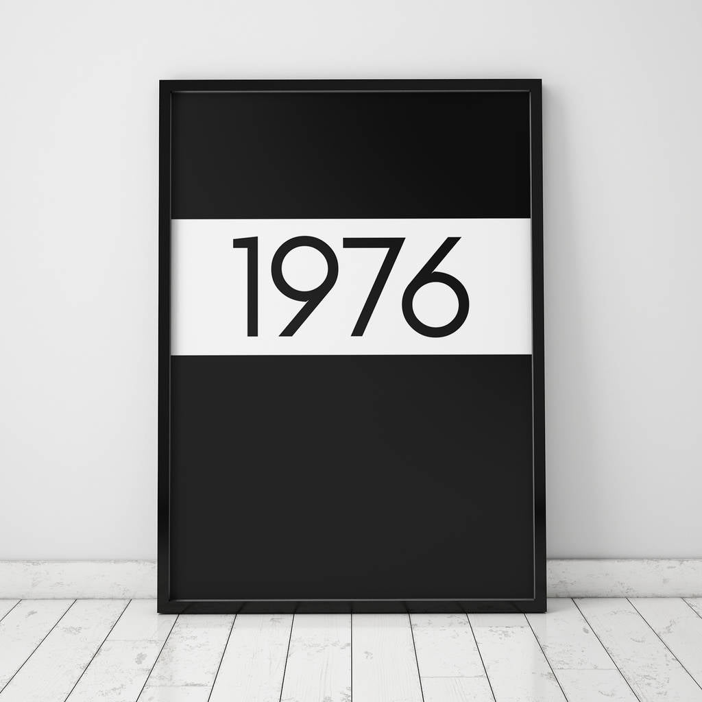 Monochrome Personalised Typographic Year Print-prints and posters-The Little House Shop