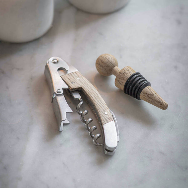 Oak Bottle Opener And Stopper Set