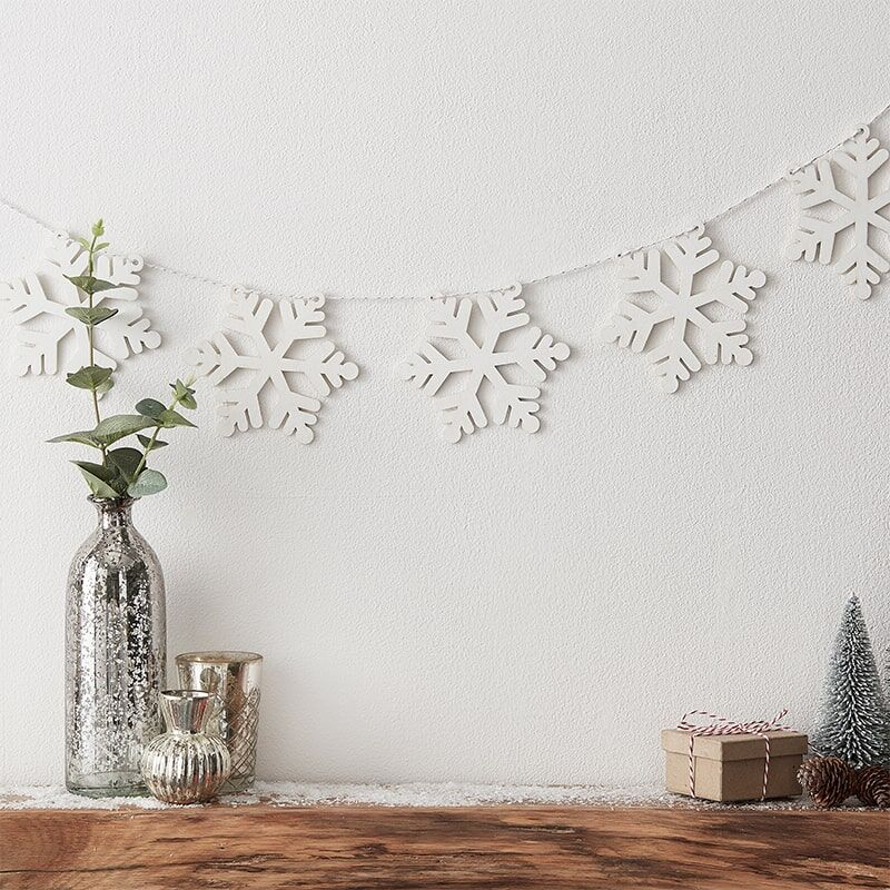 Wooden Snowflake Bunting-Christmas Decoration-The Little House Shop