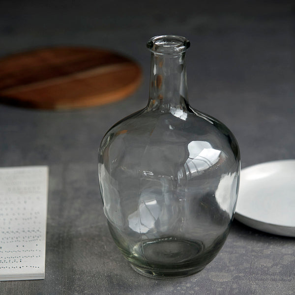 Clear Glass Vase With Narrow Neck-vase-The Little House Shop