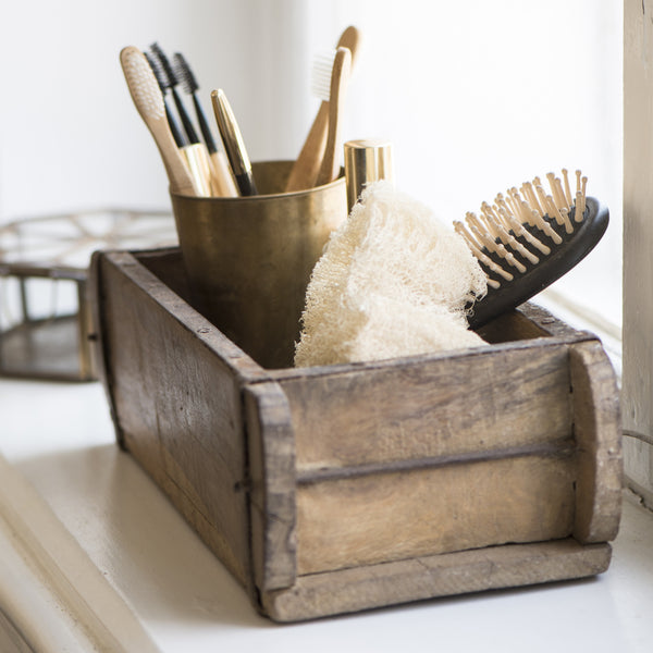vintage wooden box for bathroom storage