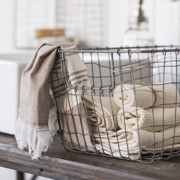 Wire Storage Basket With Open Handle-Storage-The Little House Shop