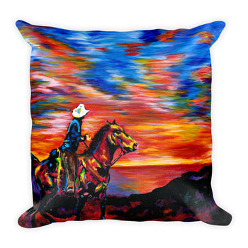 Square Pillow - Cowboy Sunset