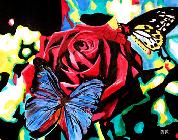 Rose and Butterflies