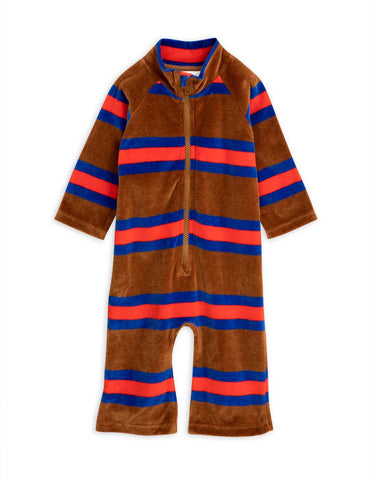 Velour stripe onesie - by Mini Rodini