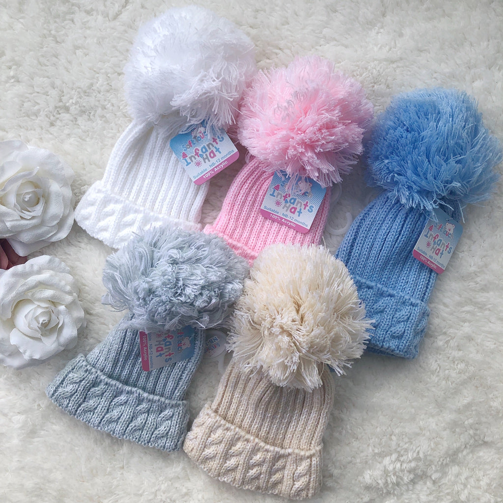 Cable knit Pom Pom hats