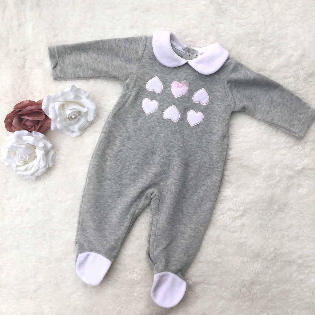 Grey velour heart all in one