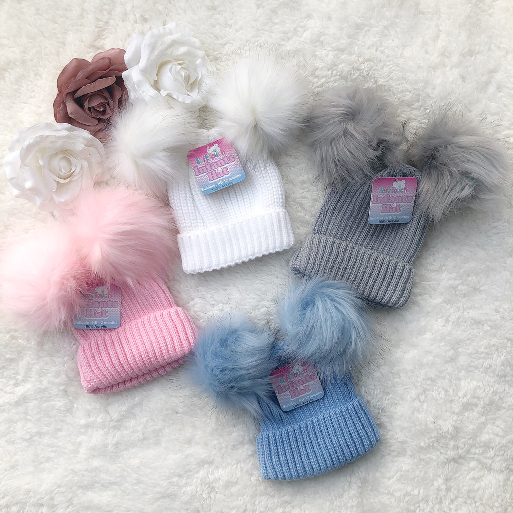 Double fluffy Pom Pom hats