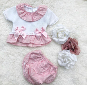 Bella pink & white two piece