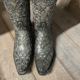 "Lucchese Curly ""L"" Black & Pewter Boot- M4842"
