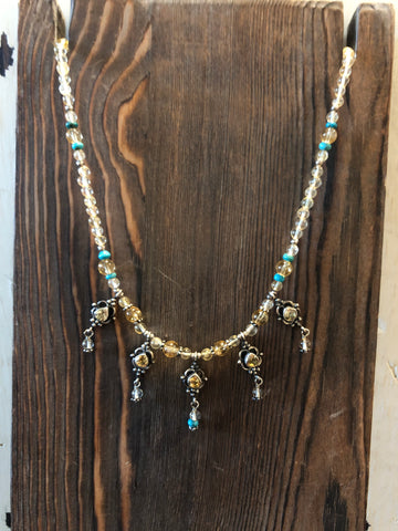 PAIGE WALLACE DESIGNS CITRINE 5 DANGLE NECKLACE