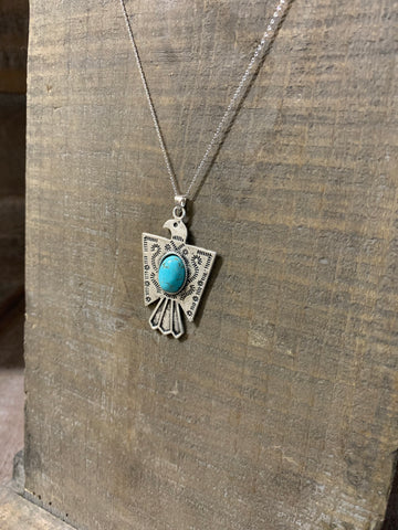 Natural Turquoise Thunderbird Necklace W/ Sterling Silver Chain