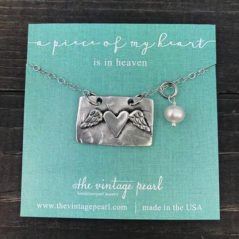"The Vintage Pear ""A Piece Of My Heart Is In Heaven"" Necklace"