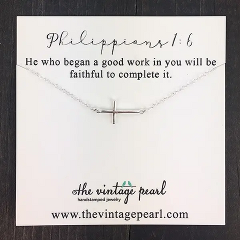"The Vintage Pearl ""He is Faithful to Complete It"" Necklace"