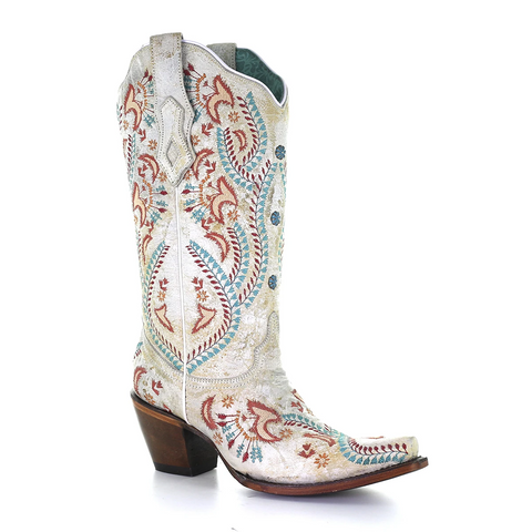 Corral LD White/Turquoise / Red Embroidery & Studs A3960