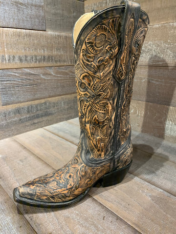 Corral Black Tooled Boot -G1385