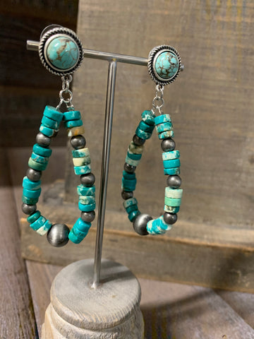 Heishi Natural Turquoise Post Earrings