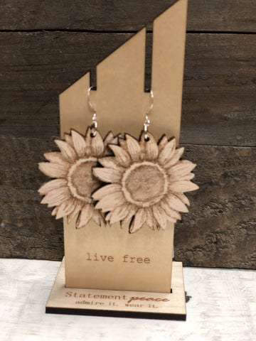 "STATEMENT PEACE ""SUNFLOWERS"" WOODEN EARRINGS"