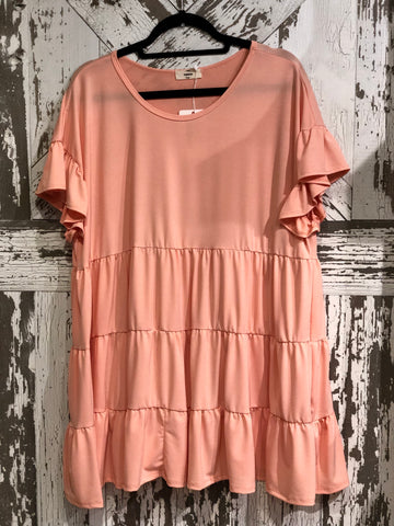 ENTRO PEACH TIERED RUFFLED SS BABYDOLL TOP