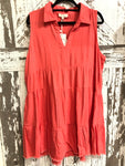 UMGEE CORAL COLLARED RUFFLE DRESS W/ FRAYED HEM