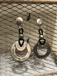 TRADES BY HAIM SHAHAR SILVER DROP CIRCLE EARRINGS WITH LEATHER ACCENTS