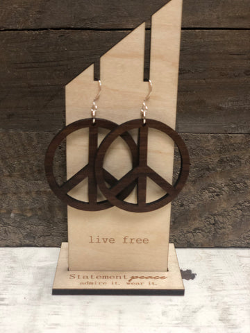 "STATEMENT PEACE ""PEACE HOOPS"" WOODEN EARRINGS"