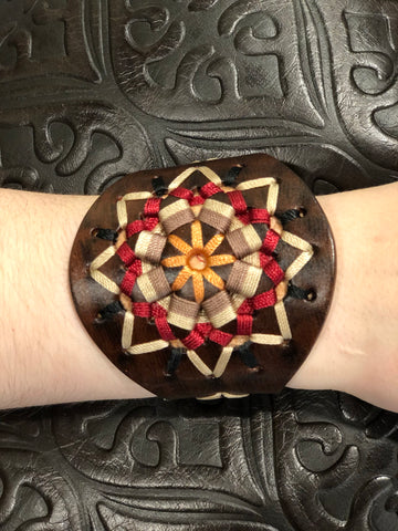 ANGEL RANCH ANTIQUED LEATHER CUFF W/ MULTI COLOR ROPING DESIGN
