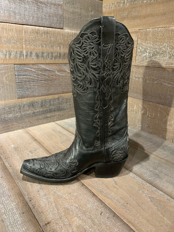 Corral Black Full Inlay Snip Toe Boot G1417
