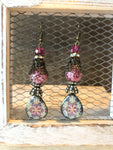 FLORAL GARDEN GLASS PAINTED BEAD AND STONE DROP EARRINGS