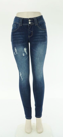 2Q DENIM DISTRESSED SKINNY JEAN