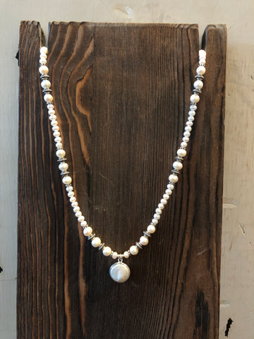 PAIGE WALLACE DESIGNS LARGE PEARL DROP PENDANT NECKLACE