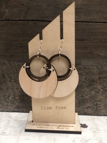 "STATEMENT PEACE ""SUPER MOON ECLIPSE"" WOODEN EARRINGS"