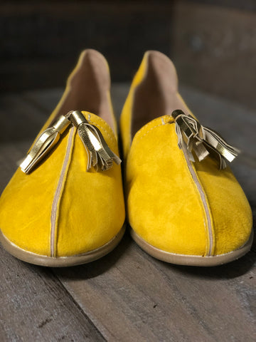 MAYAN ROOTS INGLIS YELLOW LEATHER SUEDE LOAFER