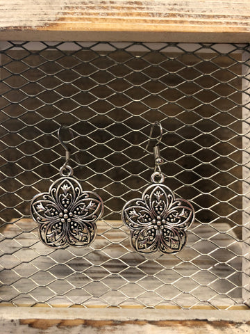 PJE SILVER FLOWER EARRING W/ GORGEOUS DETAIL DESIGN