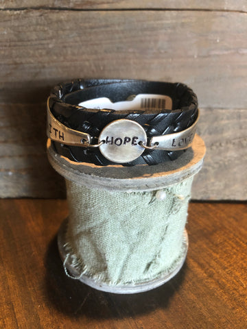Leather Band Faith*Hope*Love Bracelet