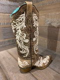 Corral Ladies Brown W/ White Embroider Boot