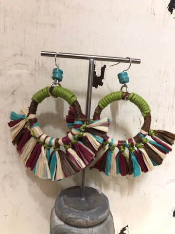TRESKA TIKI MULTI COLOR RAFFIA FRINGE HOOP EARRINGS
