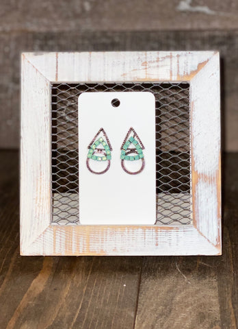 AMERICAN LEGACY TREASURES DOUBLE TRIANGLE ON CIRCLE EARRINGS WITH AQUA STONES