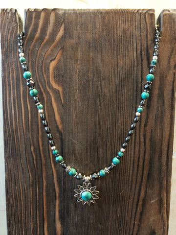 PAIGE WALLACE DESIGNS TURQUOISE SUN PENDANT NECKLACE