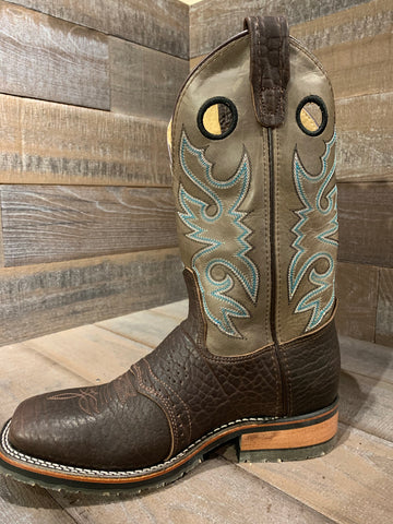 Double H Roper Black Ice Chocolate/ Cool Grey Wide Square Toe Boot- DH3575