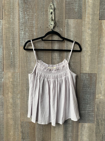 GRADE AND GATHER HAND SMOCKED COTTON TANK